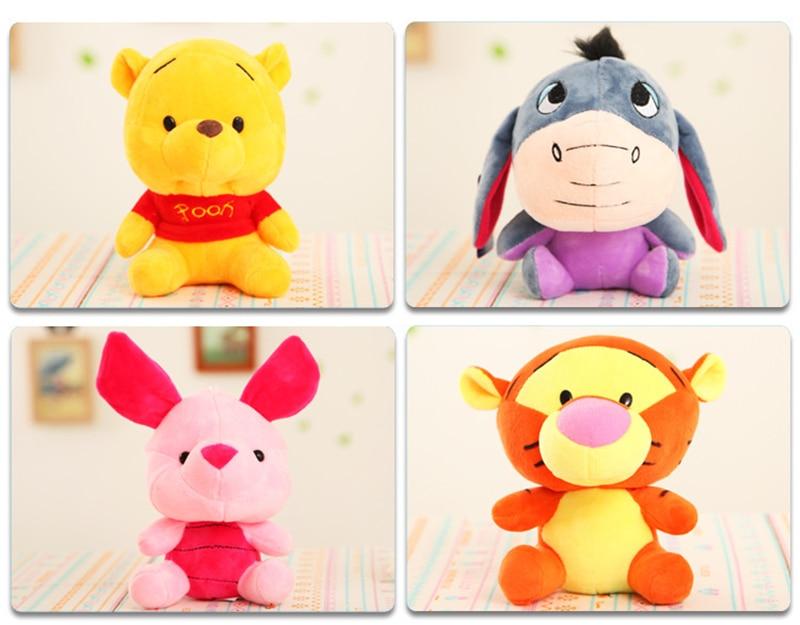 Disney 12-18cm Winnie the Pooh Bear Anime Cute Cartoon Plush Dolls Toys Keychain Pendant Kids Birthday Gift