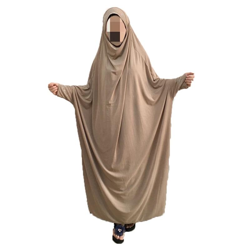 Women Girls Prayer Garment One-piece Prayer Dress Abaya Jellaba Islamic Clothing Hijab Dress Length M 63 inches L 65 inches