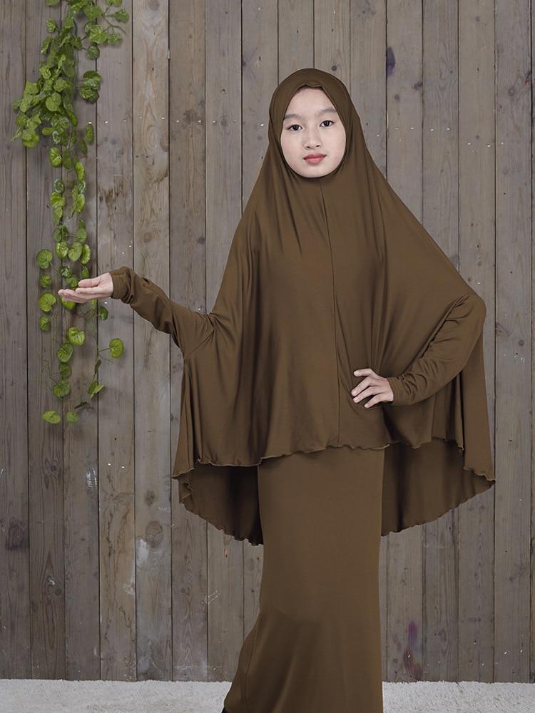 Traditional Abaya Hijab Robes for Girls Two Piece Muslim Prayer Clothes burqa Kids Solid Loose Large Abayas islamic clothing
