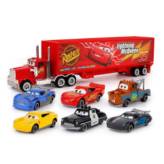 7PCS Disney Marvel Avengers Pixar Car Lightning McQueen Jackson Storm Mack Uncle Truck 1:55 Diecast Metal Car Boy Christmas Gift
