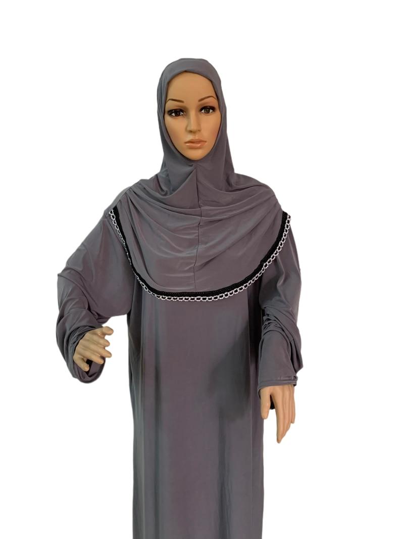 H118 pray abaya muslim dress with attached hijab khimar abaya pray kaftan Robe Arab Middle East Clothing