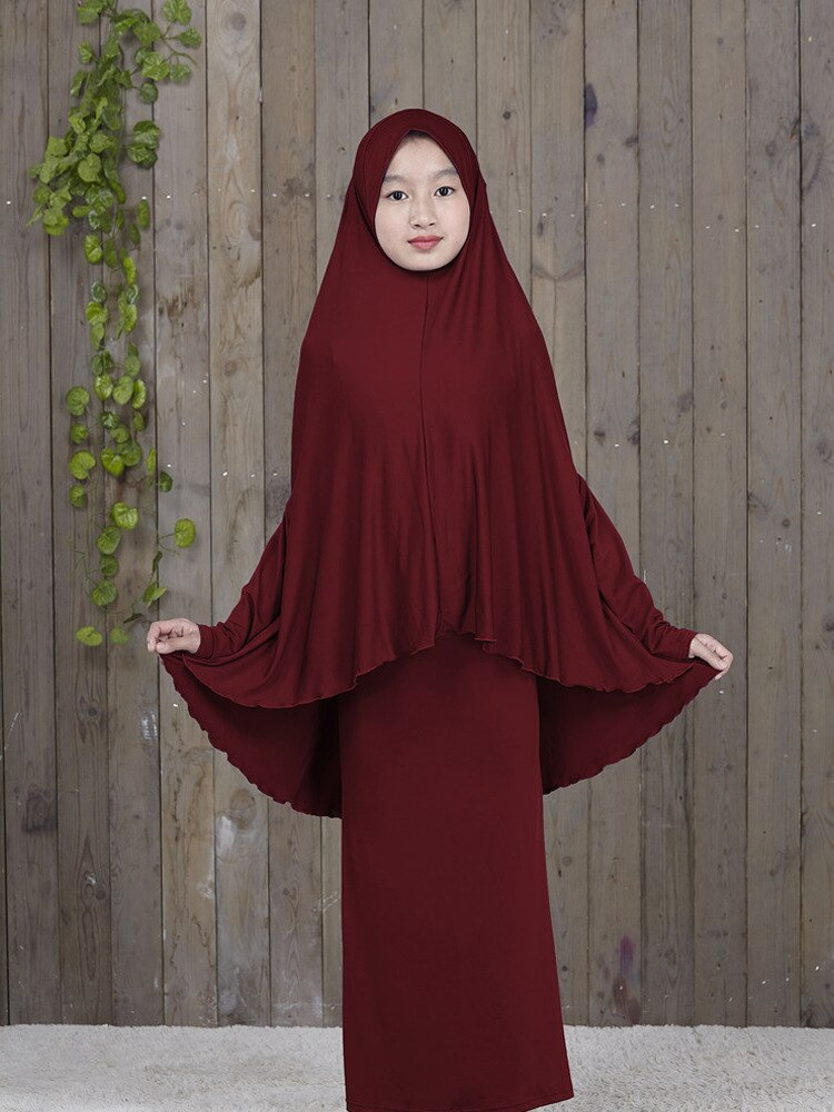 Islam Ramadan Abaya Hijab Dress Robes for Girls 2 Piece Muslim Prayer Clothes Burqa Kids Clothing Khimar Long Djellaba Femme