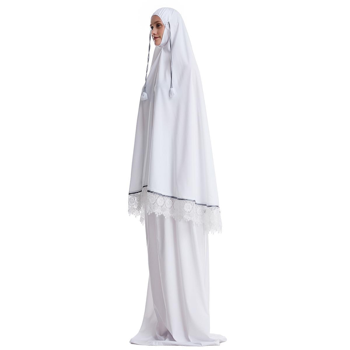 Ramadan Women 2 Piece Muslim Prayer Set Khimar Abaya Overhead Hijab+Skirt Full Cover Islam Clothing Middle East Worship Service