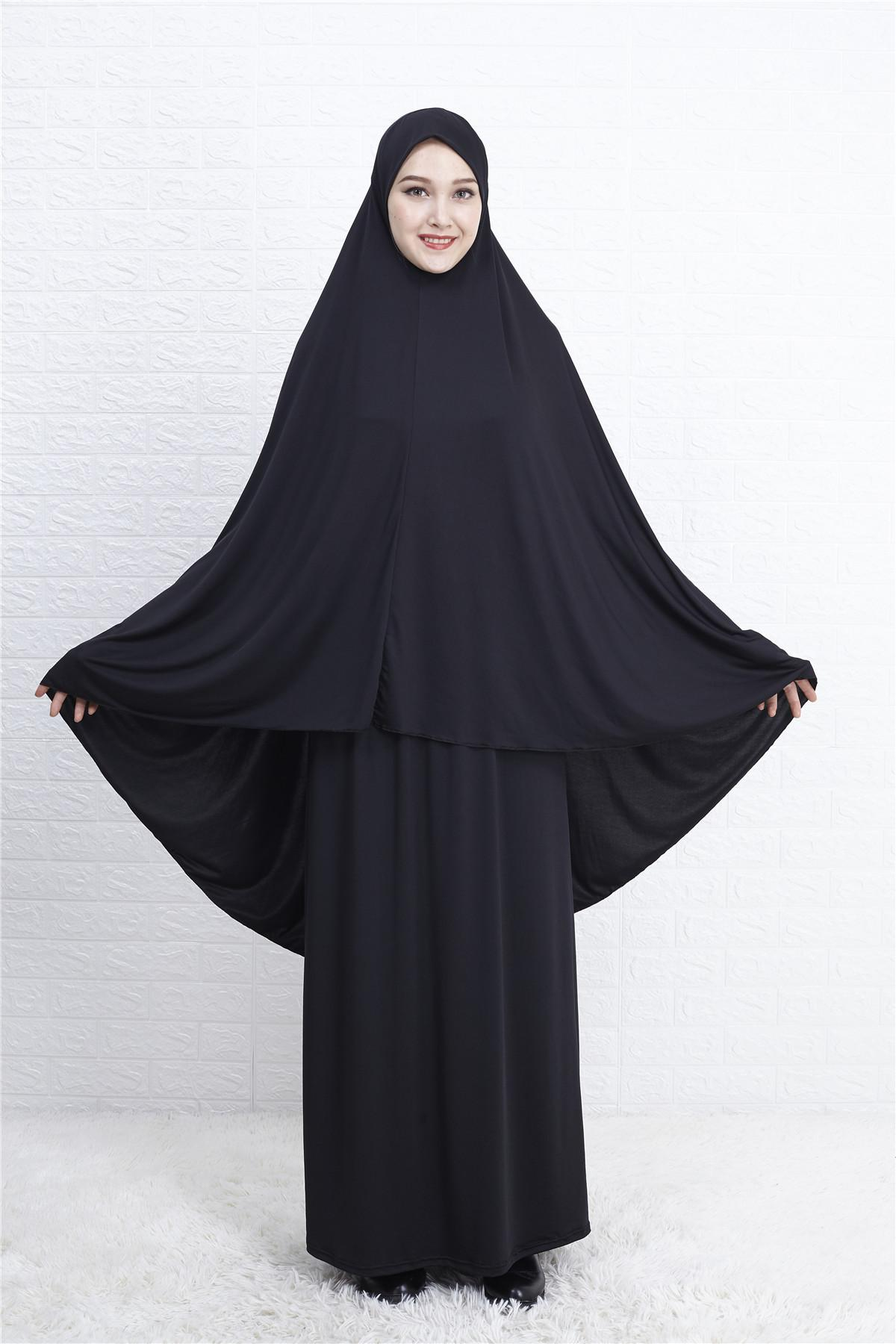 Women Prayer Clothes Set Muslim Abaya Jilbab Long Dress  Hijab Scarf Islamic Ramadan Overhead Full Cover Worship Service Middle