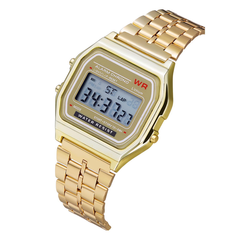 Women Men Unisex Watch Gold Silver Black Vintage LED Digital Sports Military Wristwatches Electronic Digital Present Gift Male