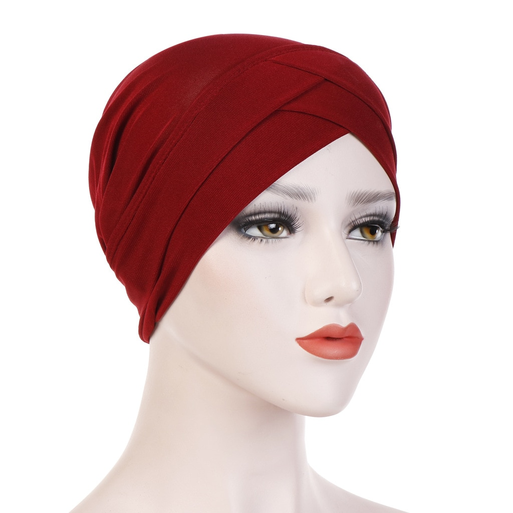 2020 Full Cover Inner Hijab Caps Muslim stretch Turban cap Islamic Underscarf Bonnet Solid color Under Scarf caps turbante mujer