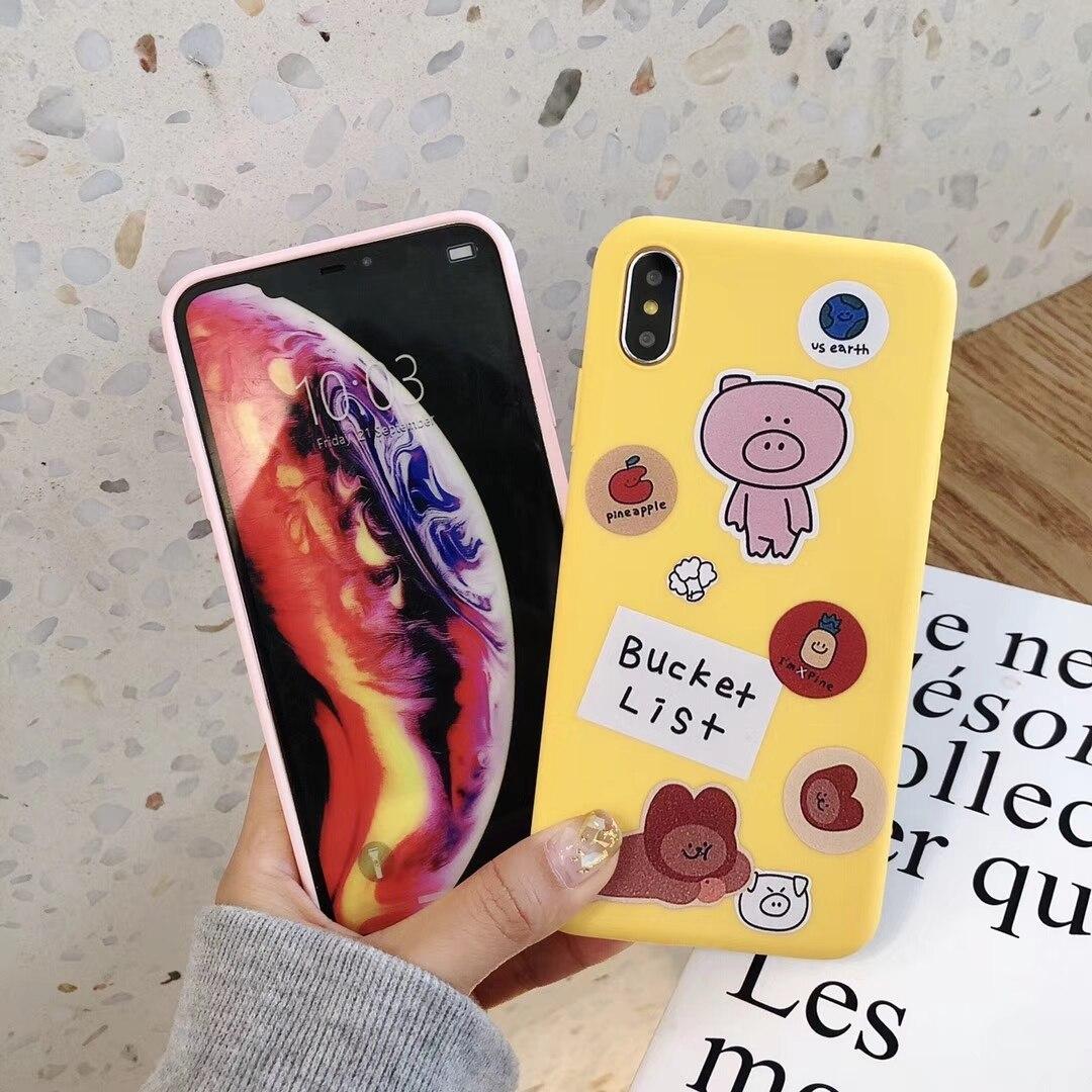 iPhone Ultra Slim Matte Pig Phone Cases Soft Cartoon Bear Back Cover