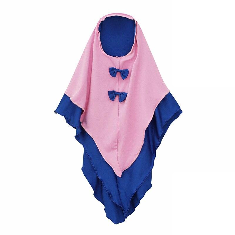 Muslim 2 Pieces Set Girls Princess Dress Kids Abaya Hijab Khimar Niqab Burqa Jilbab Islamic Children Prayer Gown Kaftan Ramadan