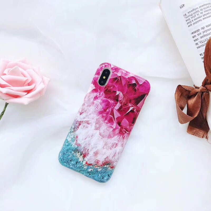 Colorful Ice Crystals Marble iPhone Cases Soft TPU Silicone Phone Covers