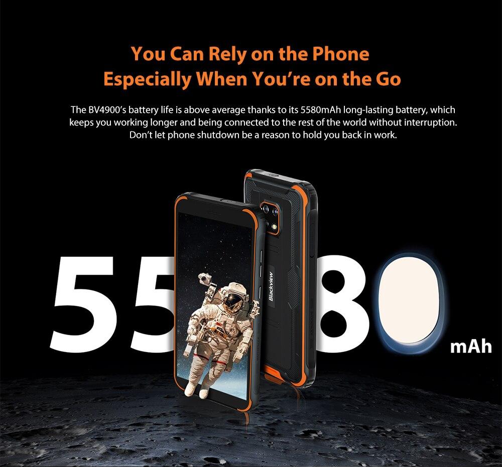 Blackview BV4900 5580mAh 3GB 32GB IP68 Waterproof Smartphone 5.7'' Android 10.0 NFC Rugged Mobile Phone