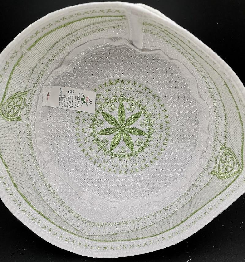 Men bonnet Muslim Hats Green Arabic Jewish Kippah Arab Musulman Kippot Prayer Hijab Caps Caps Islamic Clothing Men