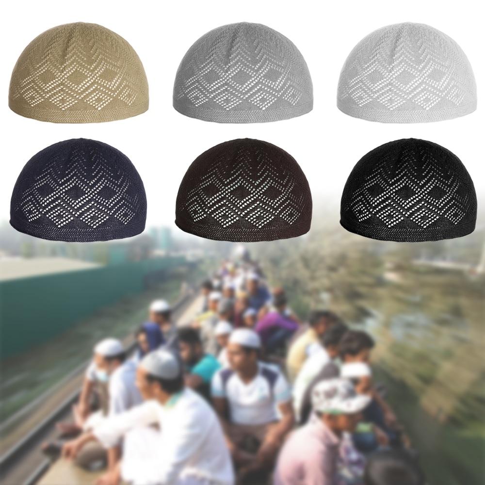 2020New Muslim Men Prayer Hats Beanie Turkish Arabic Knitted Hat Islamic Caps Headscarf Clothing Arab Crochet Islamic Fashion