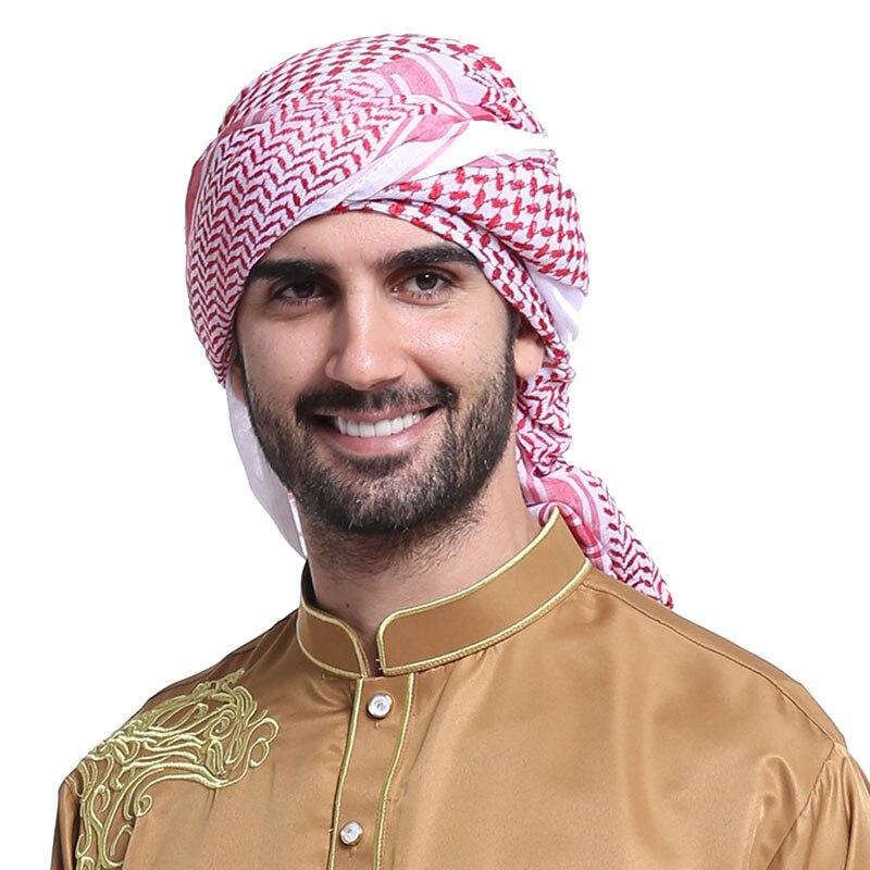 BOHOWAII Muslim Caps for Men Keffiyeh Turban Homme Islam Jewish Hijab Clothing Accessories Plaid Stripe Long Headscarf Scarf