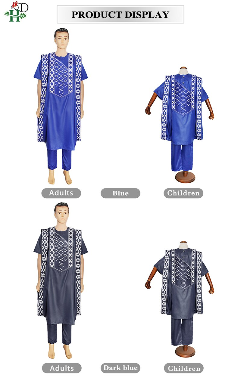 H&D Parents Kids Clothes African Men Agbada 3 Piece Sets Children Boys Robe Shirt Pant Suit Embroidery Dashiki Muslim Clothing