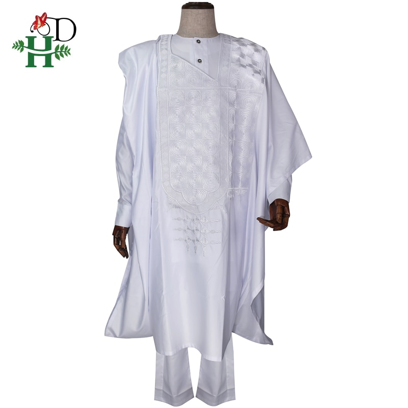 H&D no cap 2020 african men clothes dashiki robe shirt pant 3pcs suit embroidery african formal attire traditional agbada PH3231