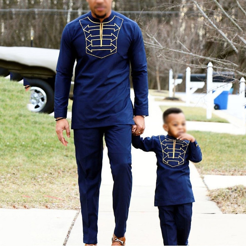 H&D men kid boy african clothes long sleeve t shirt pants suit for male father son dashiki embroidery clothing party wears 2020