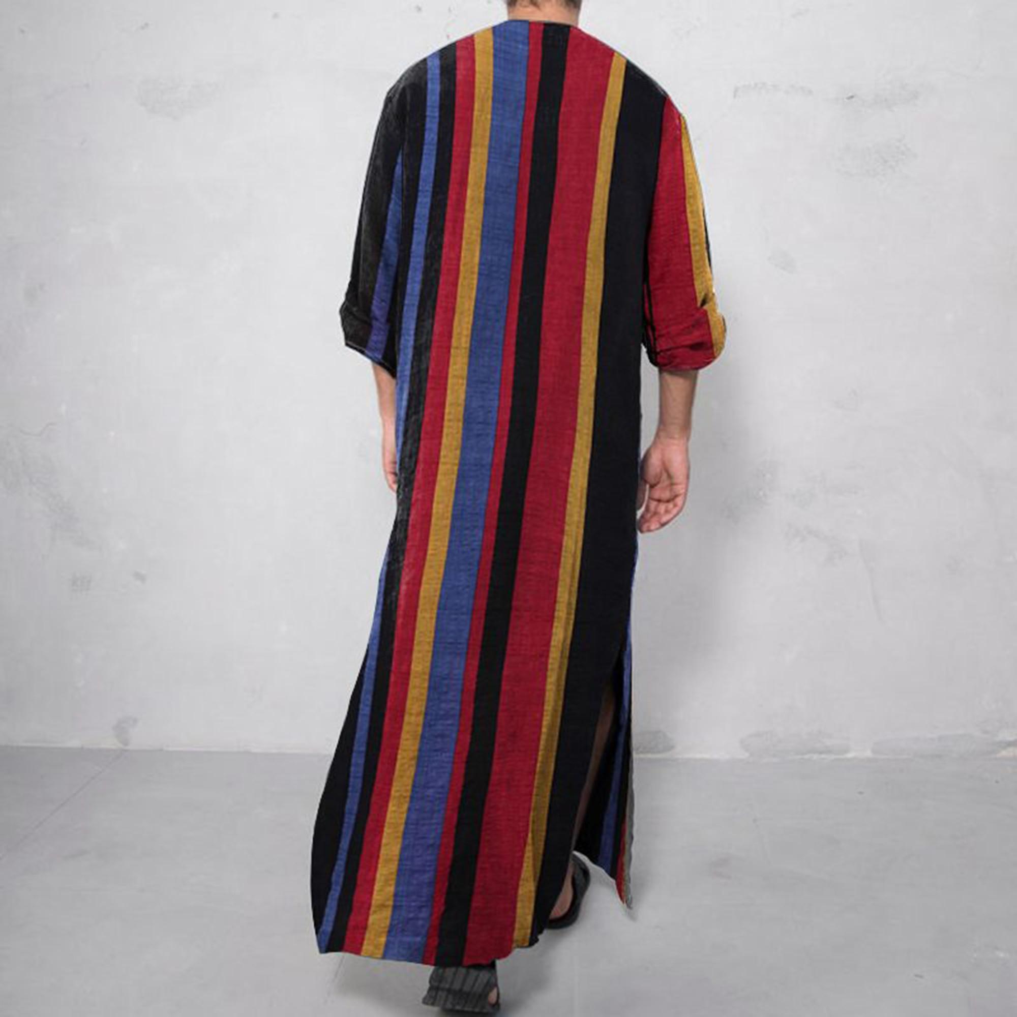 Men's Middle East Muslim Islamic Kaftan Arab Vintage Stripe Long Sleeve Men Robe Loose Dubai Kaftan Male Clothing Oversize S-4XL