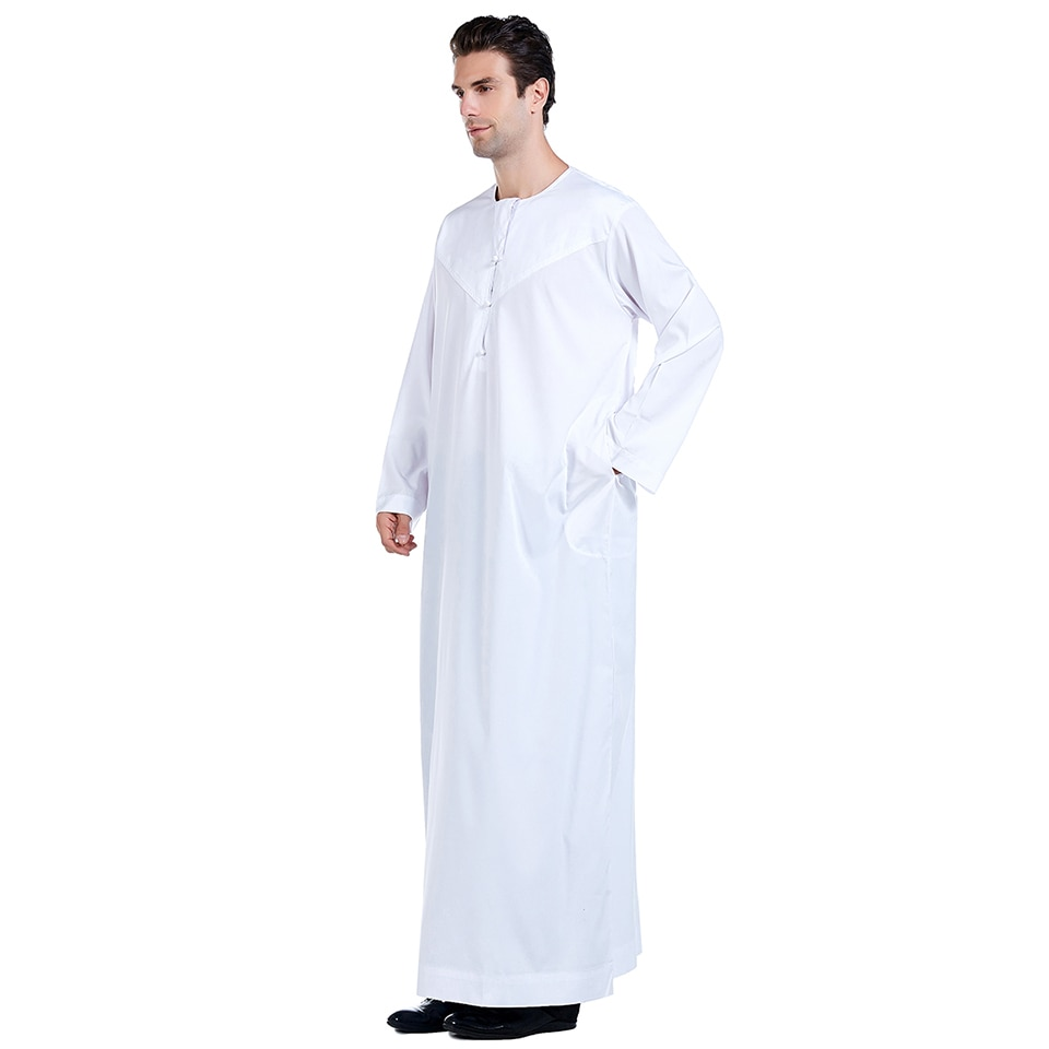 Wechery Muslim Caftan Kaftan for Men Islamic Clothing Jubba Plus Size Long Sleeve Big Size Prayer Clothed