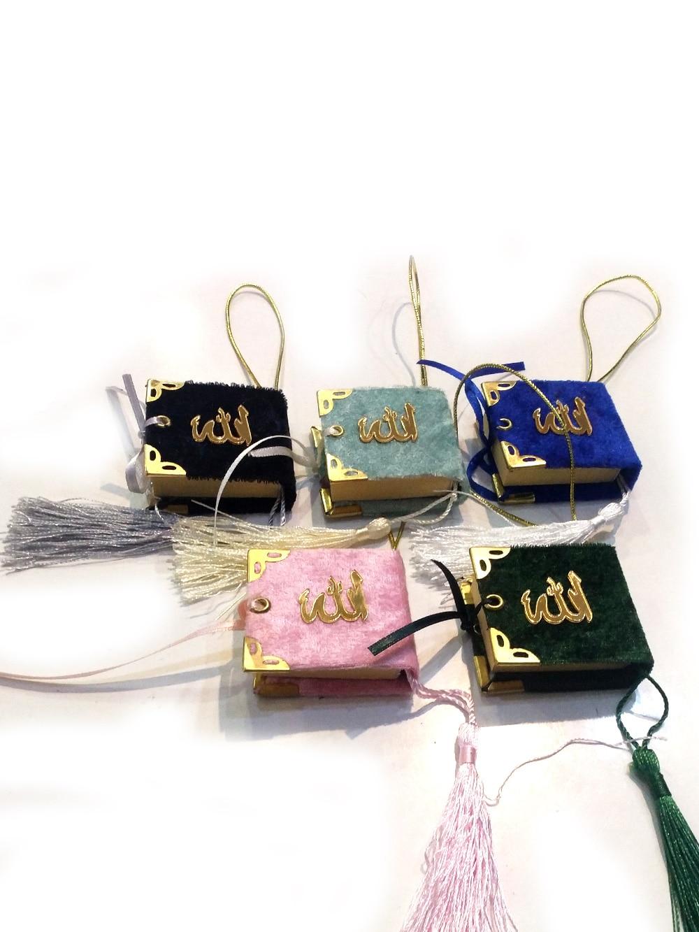 100 PCS Mini Quran Islamic Gift Eid Ramadan Mubarak Colorful Economic Umrah Hajj Mawlid Rearview Kuran Favors Ornament Arabic