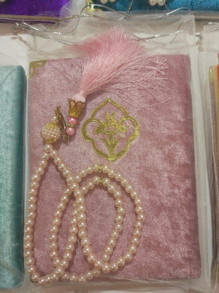 Personalized Gift Yaseen Muslim Islamic 1-5-10-25-50 Wholesale Surahs Book Arabic Turkish Prayer Beads Tulle Poch Wedding Mawlit