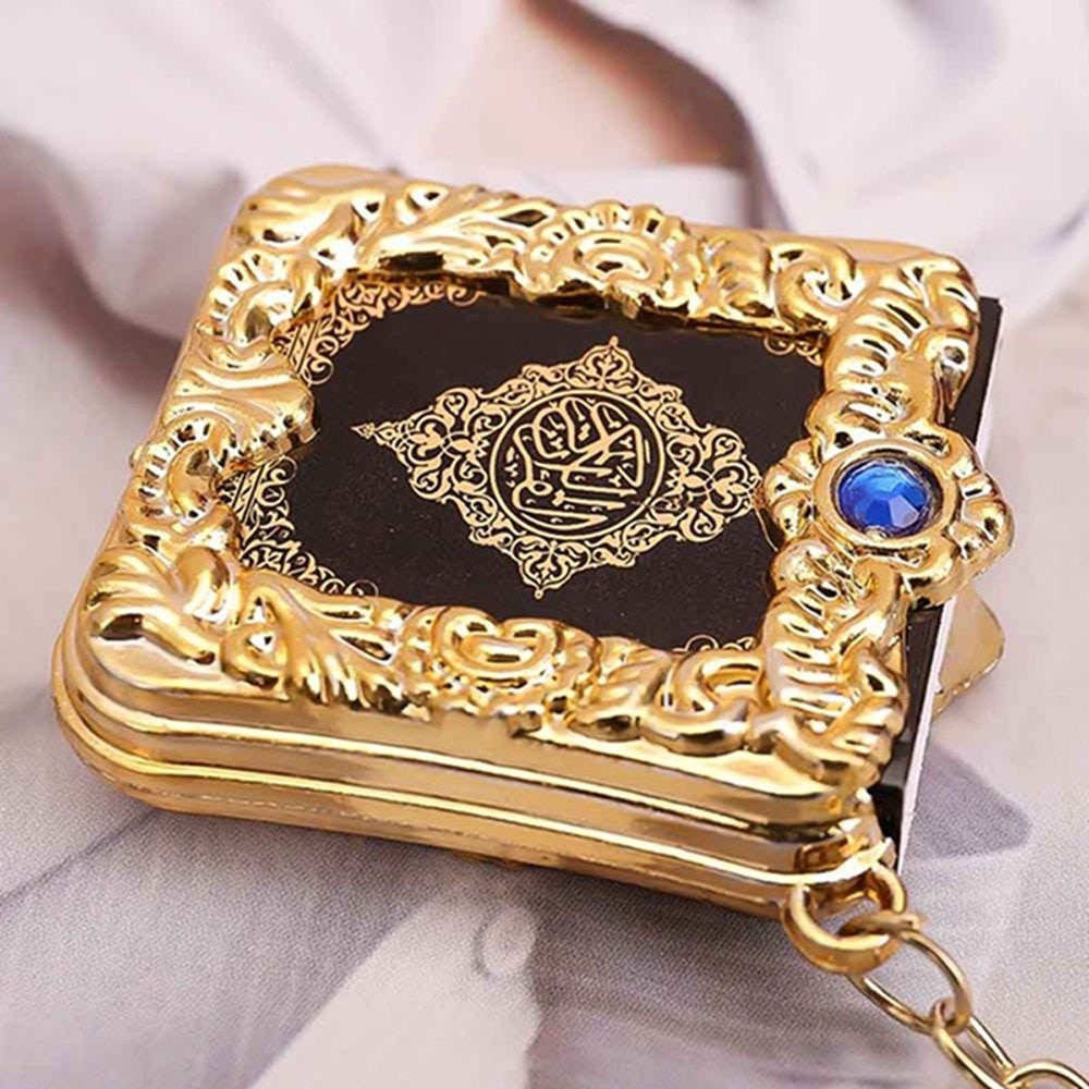 Muslim Islamic Mini Pendant Keychains Key Rings For Koran Ark Quran Book Real Paper Can Read Small Religious Jewelry For Wom 1Pc