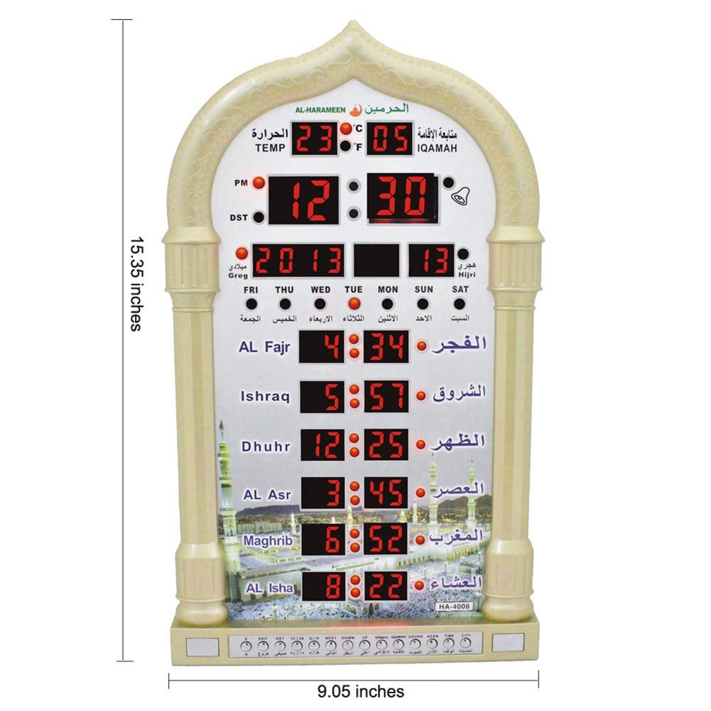 Digital Azan Mosque Prayer Clock Islamic Mosque Azan Calendar Muslim Prayer Wall Clock Alarm Ramadan Home Decor Remote Control