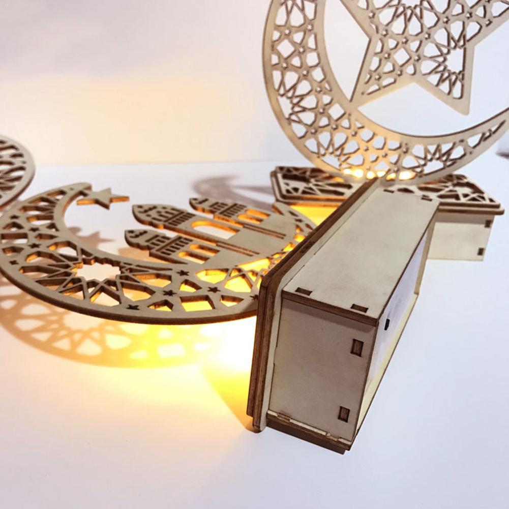 LED Wooden DIY Lamp Festival Palace Decorative Light For Muslim Islam Eid Mubarak Ramadan Desktop Home Decoration Lights