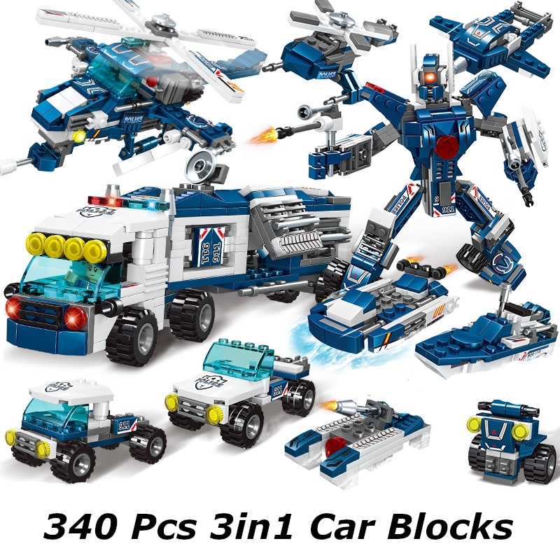 Pickwoo D16 340 to 1136 Pcs City Police Station Building Blocks Car Headquarters Truck SWAT Military Model Bricks Toys
