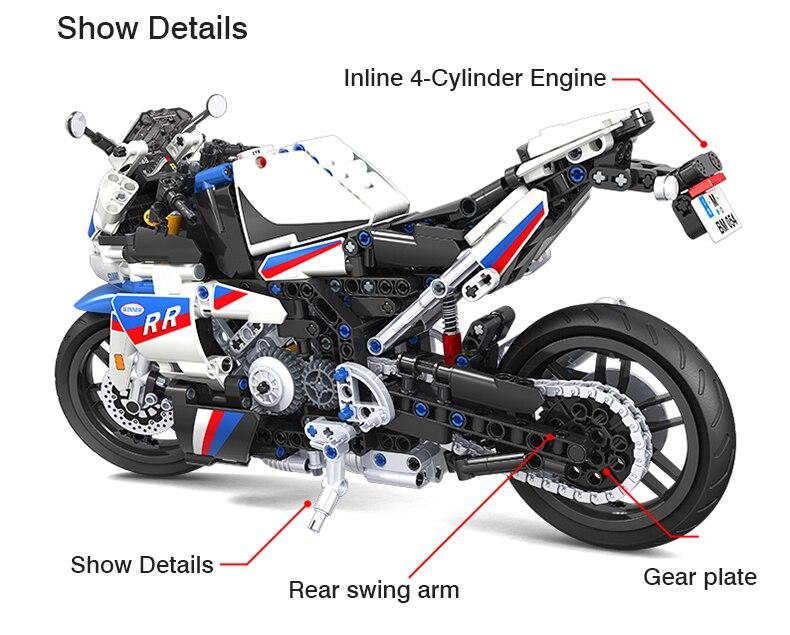 High-tech Creator Super Racing Motorcycle Building Blocks White Motorcycle Static Model Bricks DIY Set Toys Gift For Children