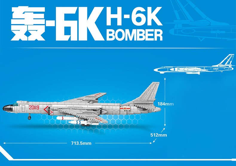 SEMBO High-tech Air Force Weapon Series Building Blocks  H-6K Aircraft Fighter Bricks Toys Birthday Gift For Boyfriend