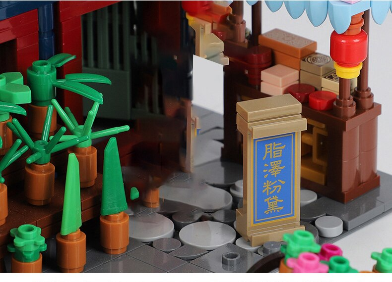 New Arrival Creator Chinese Style Ancient Architecture Building Blocks Zhuque Street House Bricks Toy Birthday Gift For Children