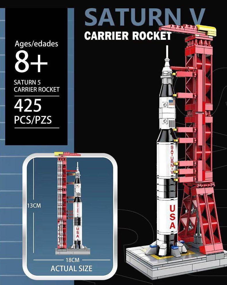 High-tech Creator Space Universe Series Building Blocks Saturn V Rocket Launch Stand Bricks Toys Birthday Gift For Children