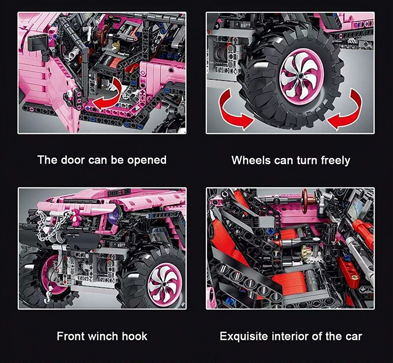Creator Pink Off-road Vehicle Static Model Building Blocks Super Off-road Car Bricks Toys Holiday Gift For Adult