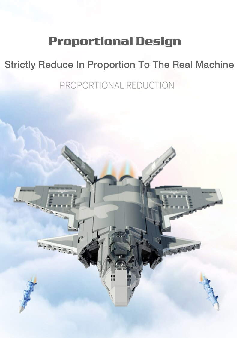 Creator High-tech Air Force Weapons Series Building Blocks F-20 Fighter Bricks Assembling Toys Birthday Gift For Children