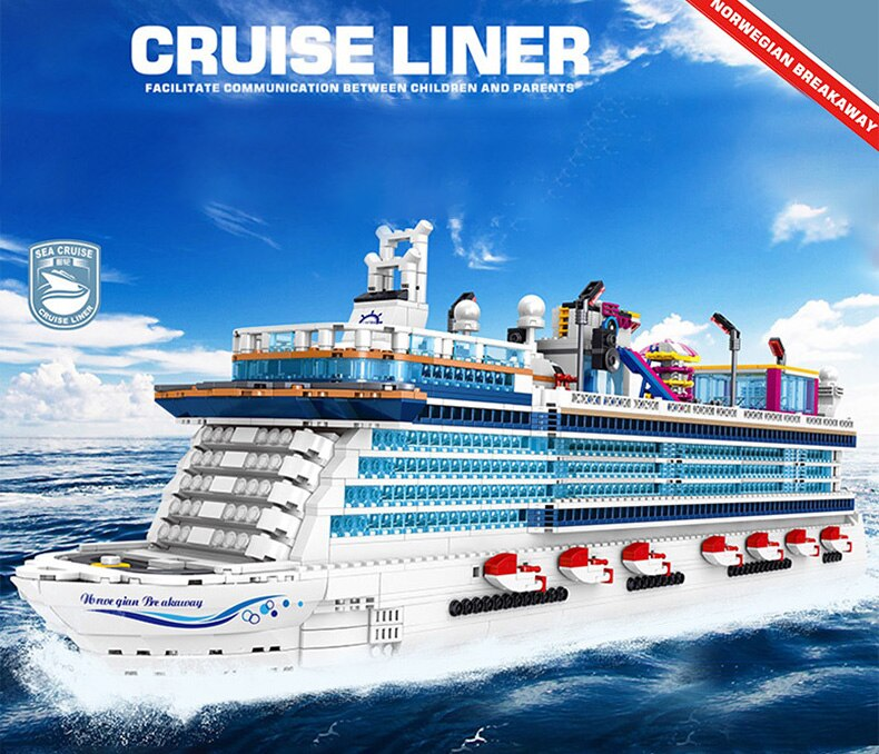 High-tech Creator Marine Transportation Asuka Luxury Cruise Building Blocks Assembly Toys Birthday Holiday Gift For Boyfriend