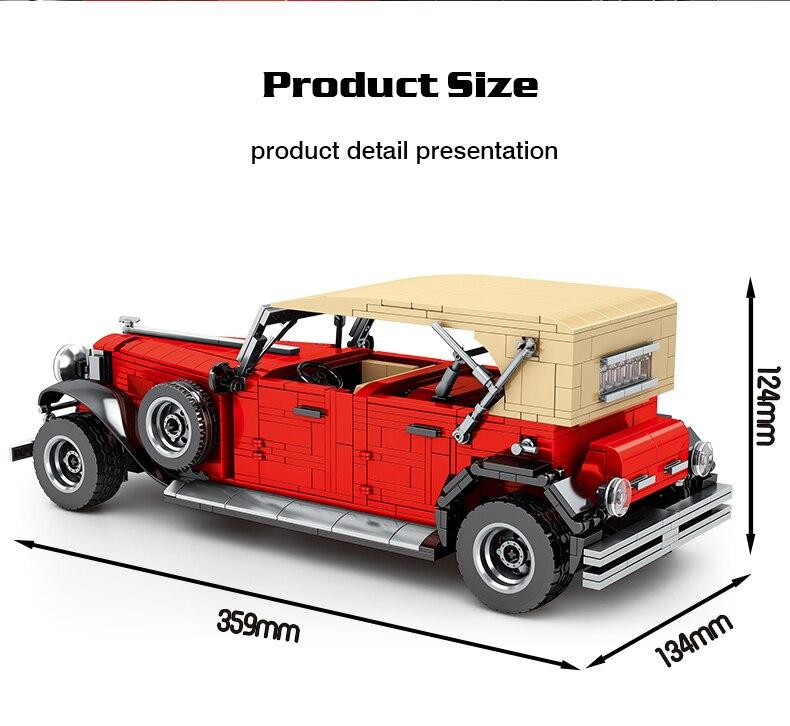 High-tech Creator Red Retro Car Building Blocks Expert Super Famous Vehicle Model Bricks DIY Set Toys Birthday Gift For Children