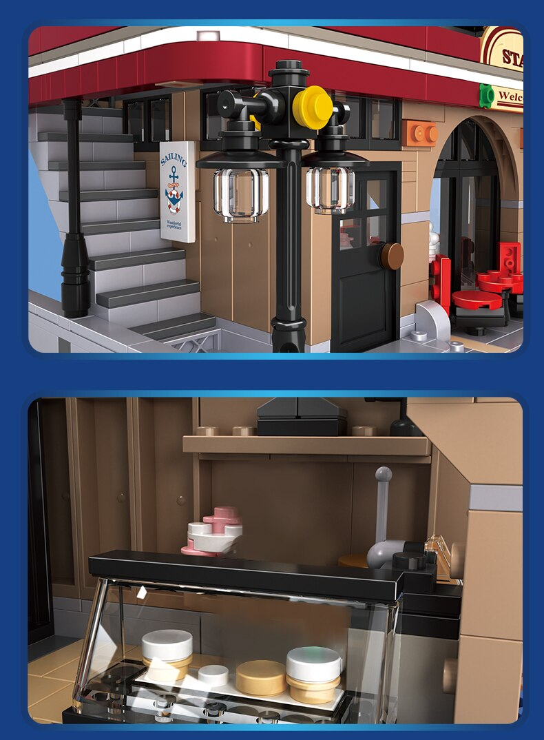 Ideas Creator Building Blocks Architecture Street View Restaurant House Bricks Assembly DIY Set Toys Birthday Gift For Children