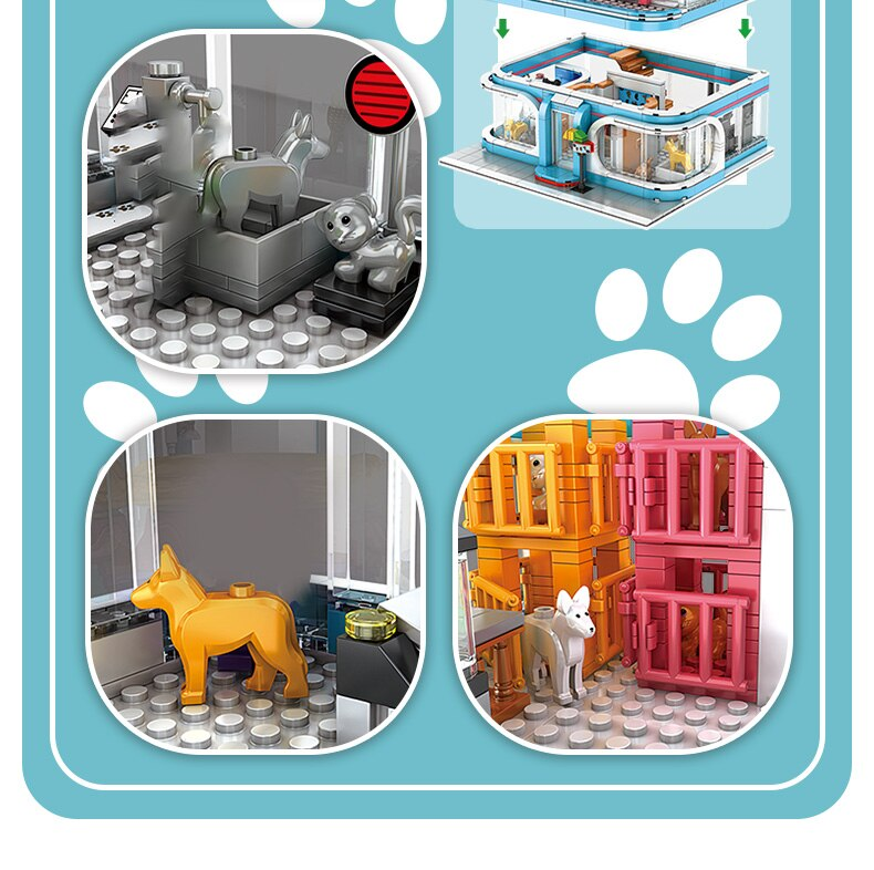High-tech Creator Pet Shop Architecture Building Blocks City Street View Bricks Assembly Toys Birthday Christmas Gift For Adult