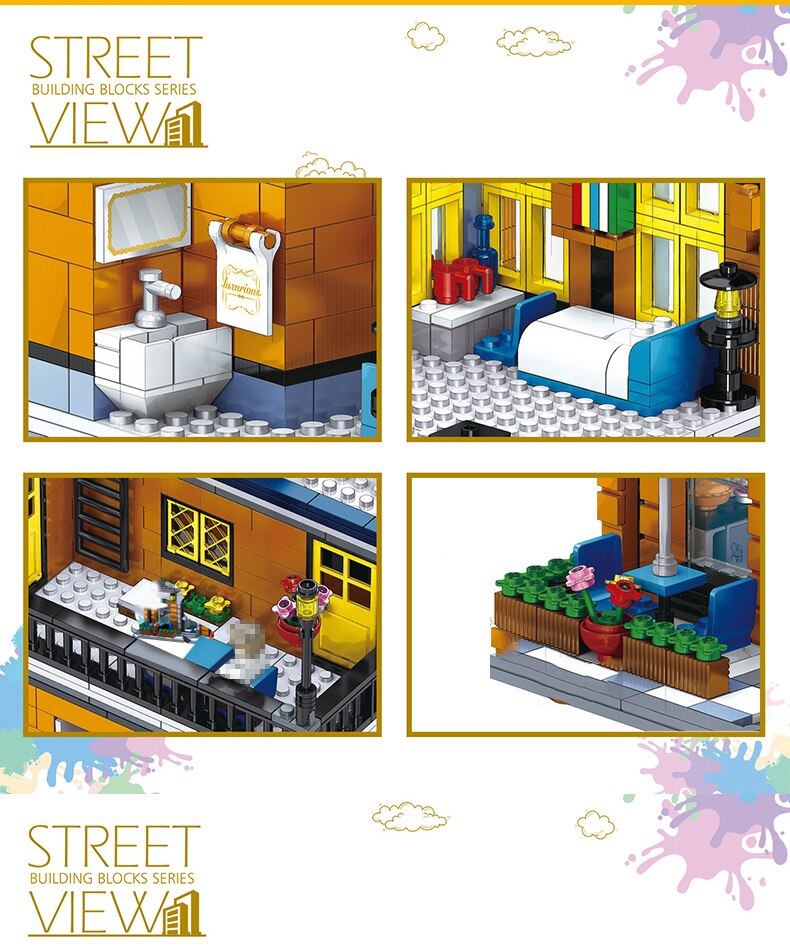 Creator Europe Style Street View Building Block Shop Store Restaurant Architecture Bricks Toys Birthday Gift For Adult