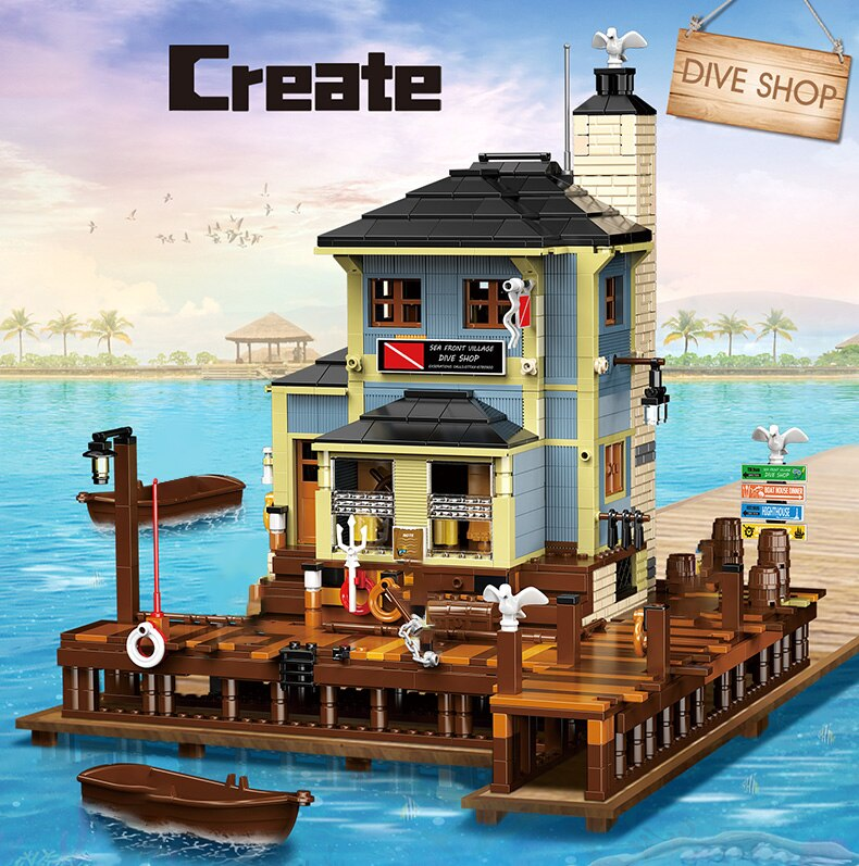High-tech Creator Fisherman Diving Shop Model Building Block Architecture Bricks Toys Birthday Holiday Gift For Adult