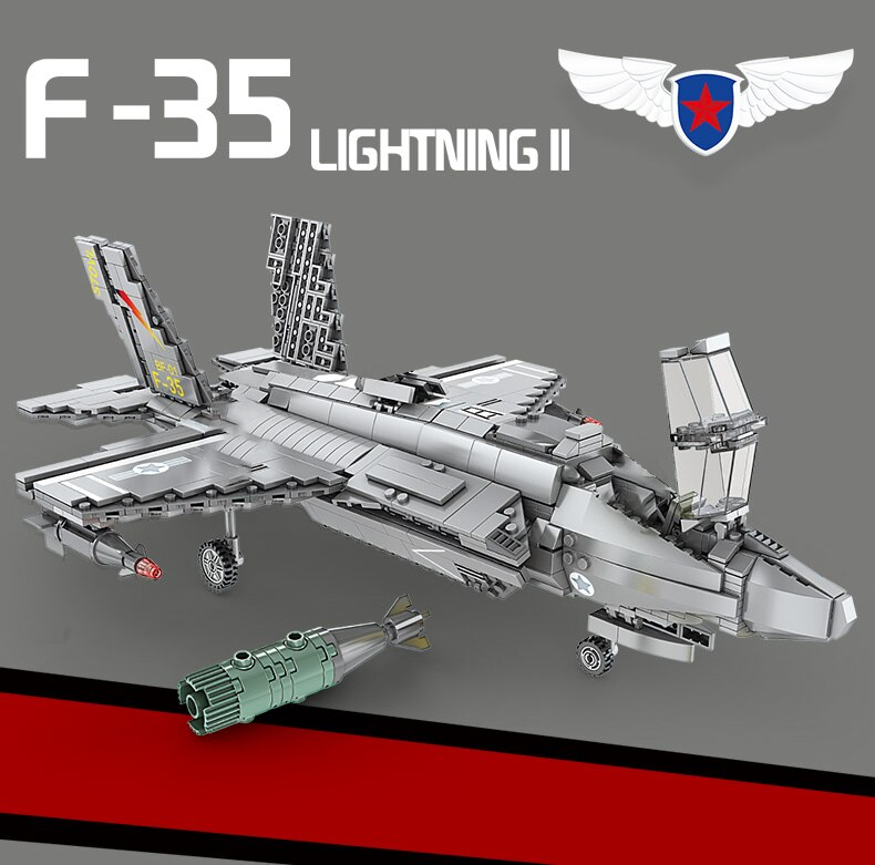 High-tech Creator Air Force Arms Series Building Blocks Aircraft Fighter Bricks Toys Birthday Christmas Gift For Boyfriend