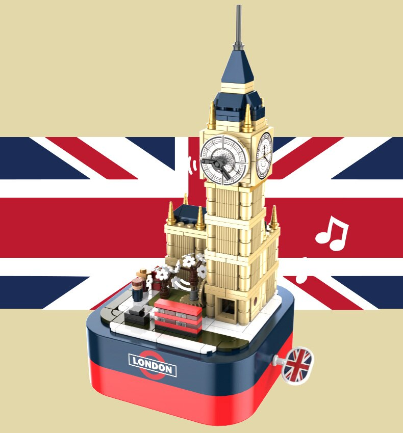 Creator Ideas Architecture Music Box Building Blocks Big Ben Pearl Tower Eiffel Tower Music Box Toys Birthday Gift For Children