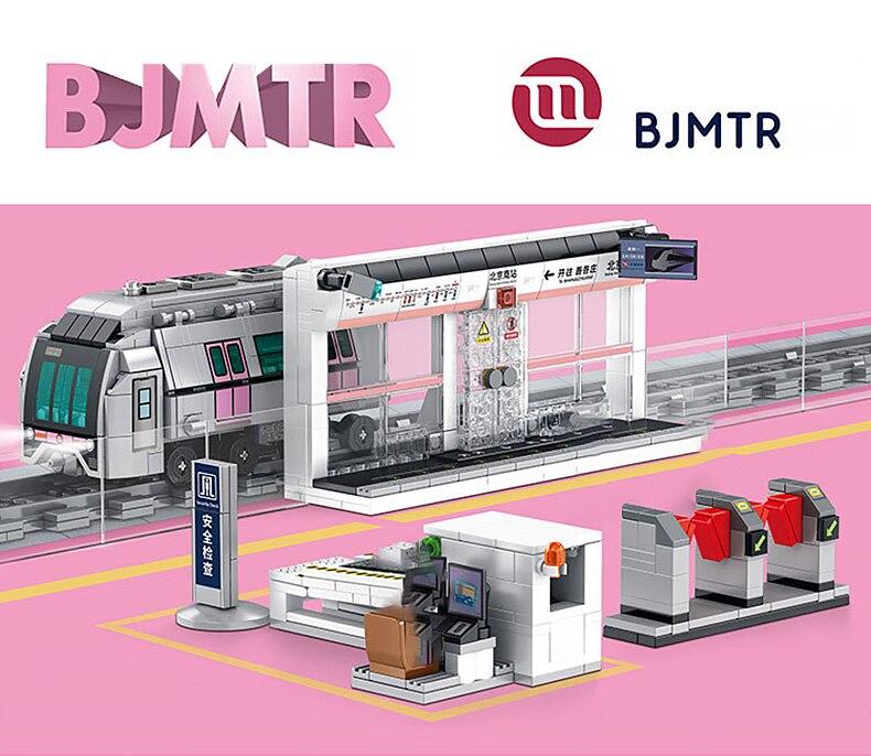 SEMBO High-tech Transportation Subway Series Building Blocks Beijing-Hong Kong Subway Bricks Toys Birthday Gift For Children