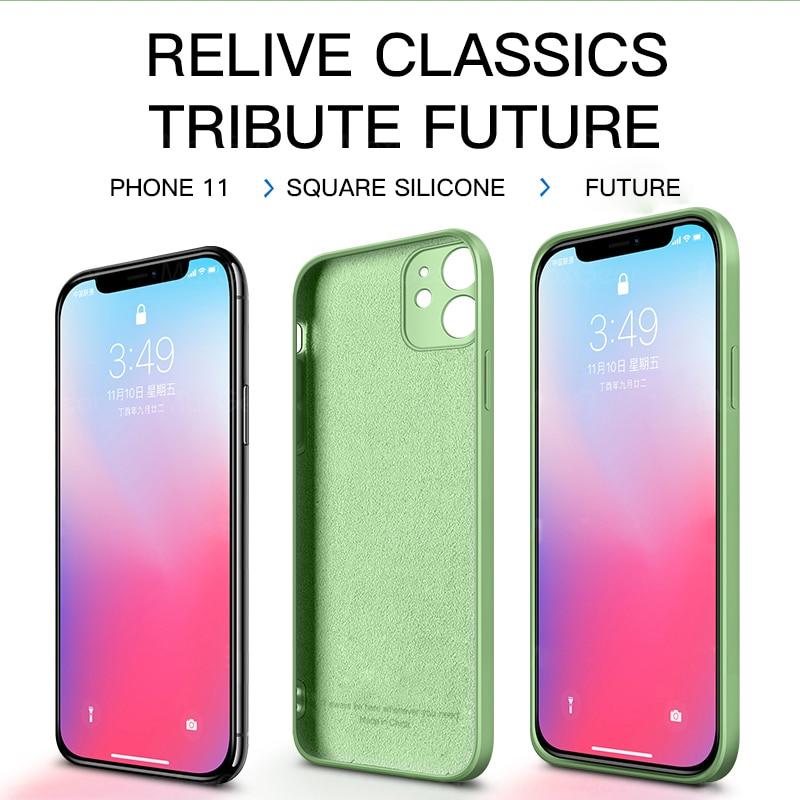 Original Square Liquid Silicone Case For iphone 12 mini 11 Pro Max XS XR SE 2020 7 8 6S Plus Cover Coque Luxury Soft  Fundas