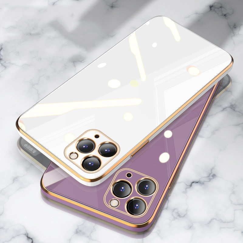 Luxury Gold Plated Electroplated Case For iPhone 11 Pro Max 8 Plus 7 XR XS X Silicone Lens Protection 12 Pro Max SE 2020 Cover