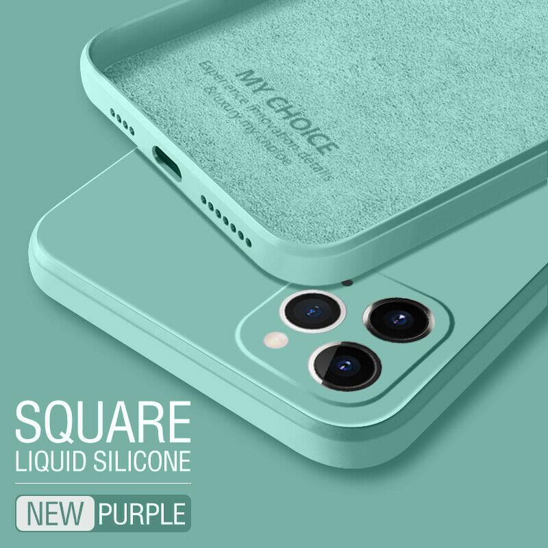 Luxury Original Square Liquid Silicone Phone Case For iPhone 12 11 Pro Max Mini XS X XR 7 8 Plus SE 2 Thin Soft Cover Candy Case