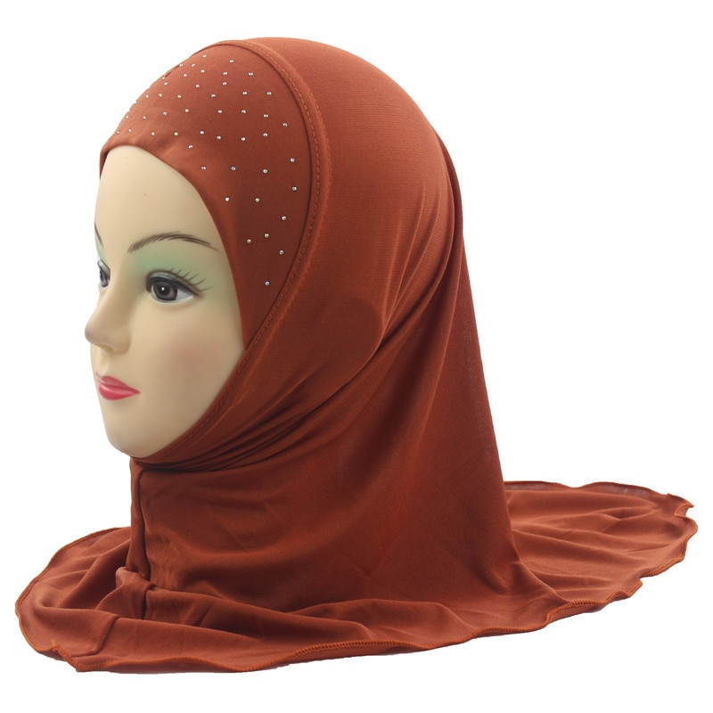 Muslim Kids Hijab Islamic  Scarf Beautiful Drill style for 2 to 7 years old Girls