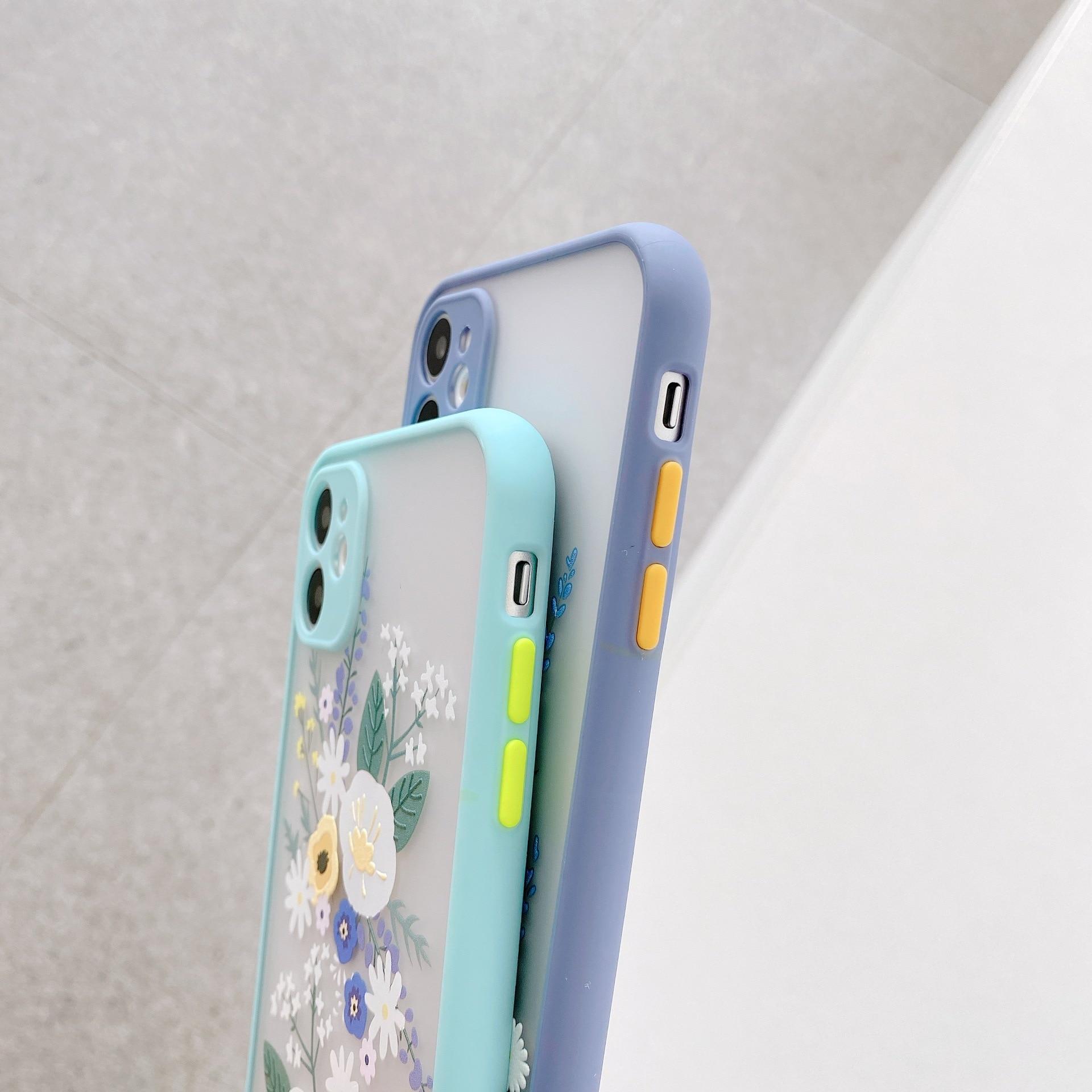 Luxury 3D Relief Flower Case For iPhone 12 Mini 11 Pro Max X XR XS Max 7 8 Plus Soft Bumper Transparent Matte PC Back Cover